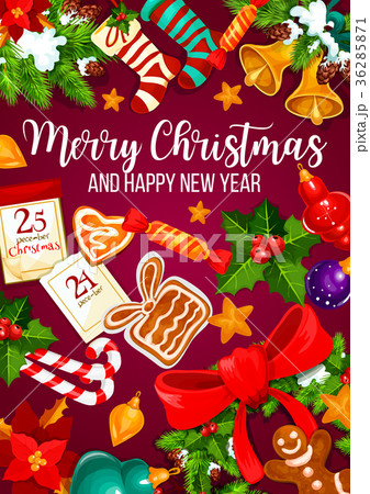 Christmas and New Year winter holidays poster 36285871
