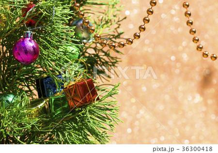 Christmas card with fir and decor 36300418