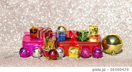 Christmas card with fir and decor on glitter 36300429