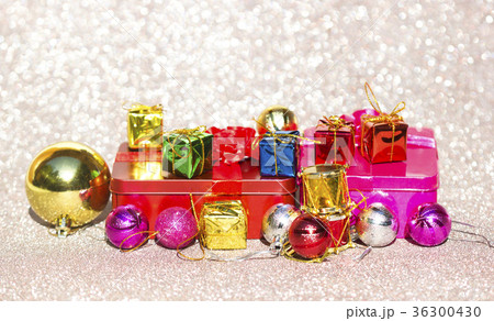 Christmas card with fir and decor on glitter 36300430