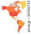 Political map of Americas in four shades of orange 36300734