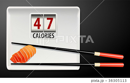 Vector of Calories in Salmon Sushi 36305113