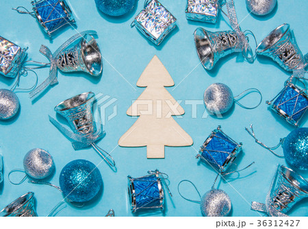Festive composition on a blue background wooden  36312427