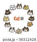 猫 フレーム 円形のイラスト 36312428