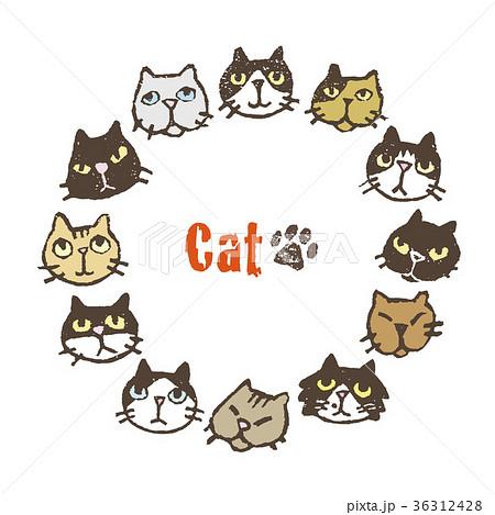 いろいろな猫の円形フレームデザイン カードデザイン 36312428