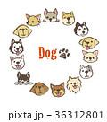 犬の円形フレームデザイン カードデザイン 36312801