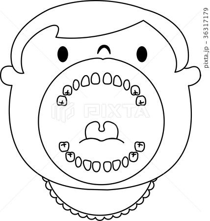 幼児 子供 20本 歯列 口の中 イラスト ベクター モノクロのイラスト素材
