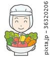 白い衛生服を着た女性作業員が野菜を持っている 36320206