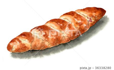 水彩で描いたパン/ベーコンチーズロール 36338280