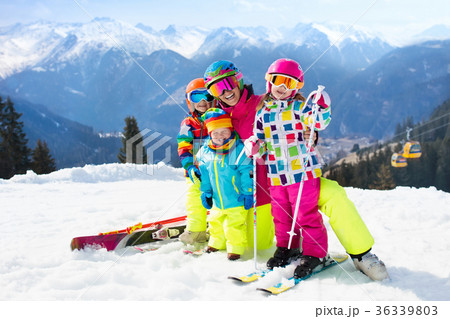 Family ski vacation. Winter snow sport for kids. 36339803