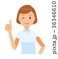 白い制服を着た女性看護師がグッドサインをしている 36346610