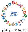 暑中見舞い 日本の夏素材 円形フレーム カードデザイン 36348193