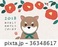 椿と豆柴 年賀状 36348617