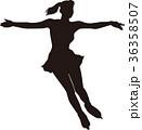 シルエット フィギュアスケート 女子 前向き 滑り ポーズ 36358507