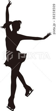 シルエット フィギュアスケート 女子 決めポーズ2のイラスト素材