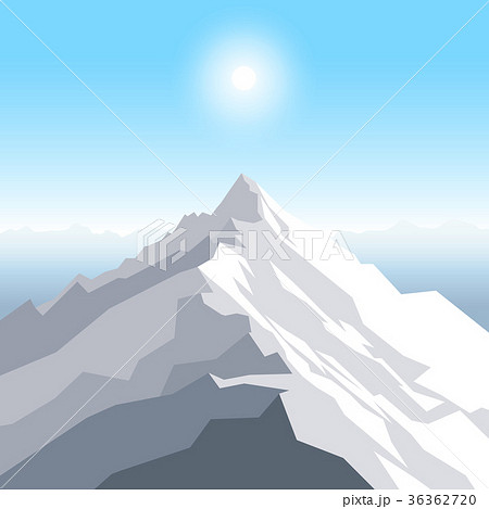 a midday sun over the mountains landscape withのイラスト素材