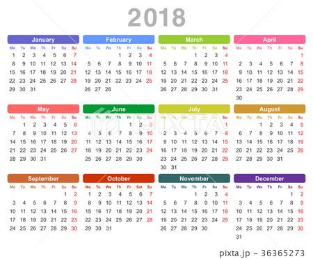 2018 year annual calendar (Monday first, English) 36365273
