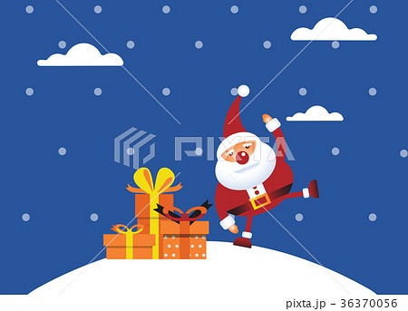 Cartoon Santa claus with a gift of toys in front  36370056