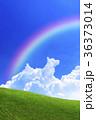 青空と犬の形の雲と草原 36373014