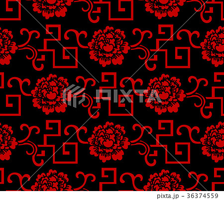 Seamless Chinese Botanic Garden Flower Background 36374559