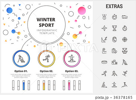 winter sport infographic template elements iconsのイラスト素材