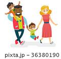Happy multiracial family walking and having fun. 36380190