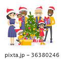 Big biracial family decorating the Christmas tree. 36380246