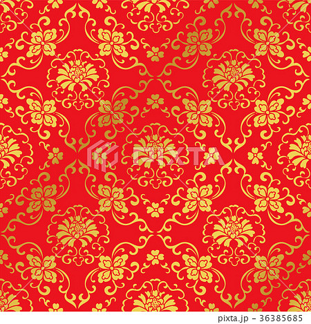 Seamless Golden Red Traditional Chinese Background 36385685