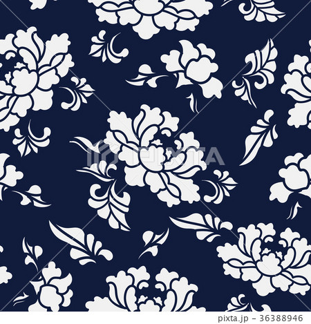 Seamless China Blue Plant Pattern Background 36388946