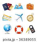 ベクター 飛行機 地図のイラスト 36389055