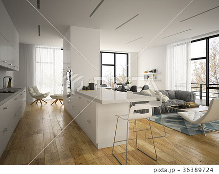 Interior modern design room 3D illustration 36389724