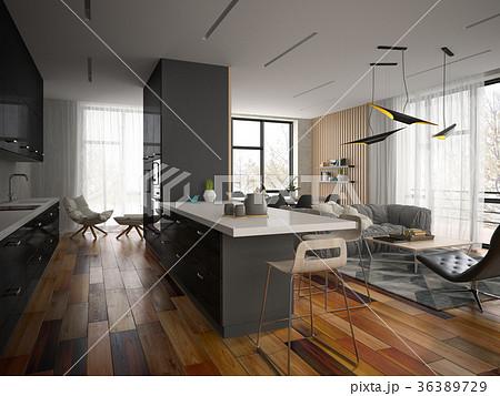 Interior modern design room 3D illustration 36389729