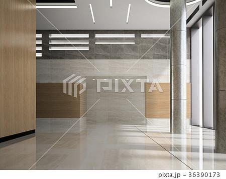 Interior of a lobby hotel reception 3D  36390173