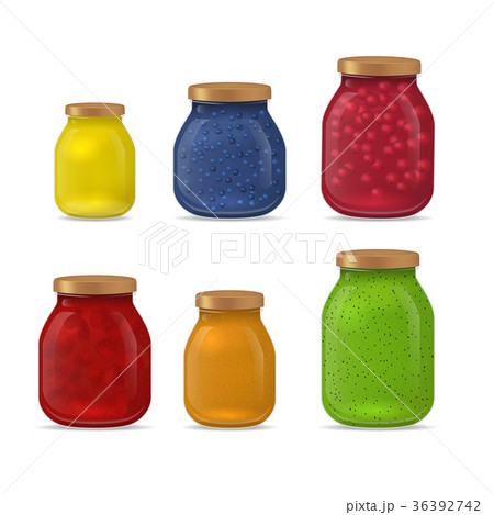 Realistic Detailed 3d Glass Jar with Jam Set 36392742