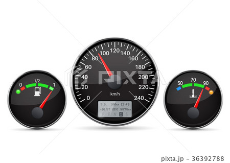 Car dashboard. Speedometer, fuel and temperature 36392788