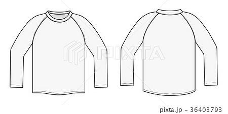 長袖ラグランtシャツ イラストテンプレート白x白のイラスト素材