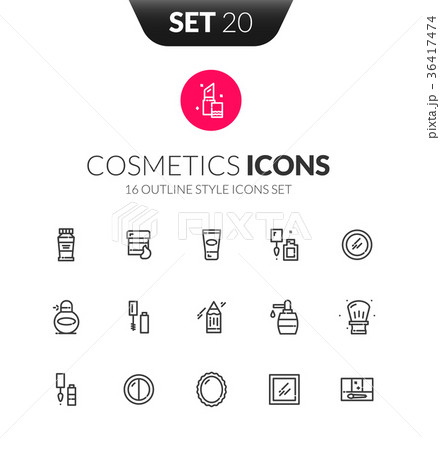 Outline black icons set in thin modern style 36417474