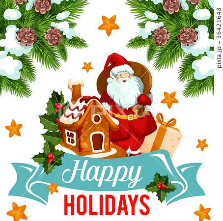 Christmas holiday card with santa and xmas gift christmas holiday card with santa and xmas gift negle Choice Image