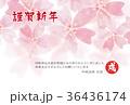 年賀状 戌 桜水彩 36436174