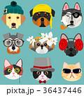 犬と猫の顔セット おしゃれ 36437446