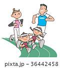 家族 走る マラソンのイラスト 36442458