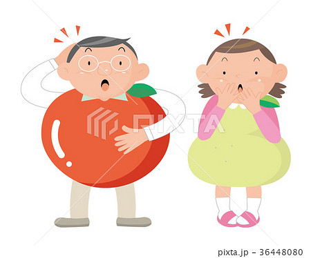 メダボ。リンゴ体型男性と洋梨体型女性。 36448080
