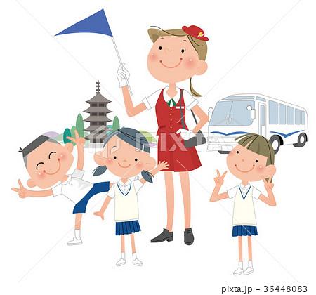 修学旅行に行く、小学生と、ガイドの女性。 36448083