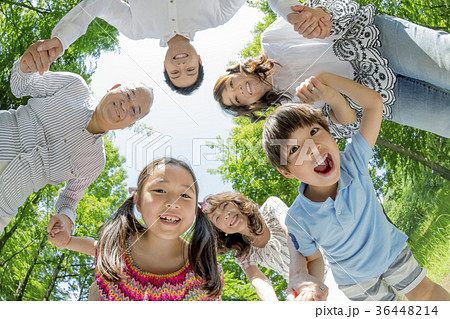 新緑の公園で遊ぶ3世代家族 36448214