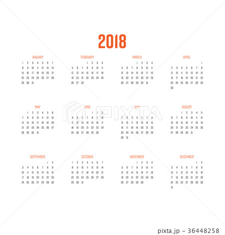 vector calendar year 2018 week starts fromのイラスト素材