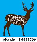 Christmas reindeer on blue background. Vector 36455799
