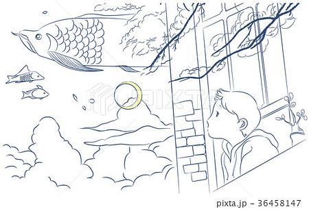 大人の塗り絵空飛ぶ魚のイラスト素材 36458147 Pixta