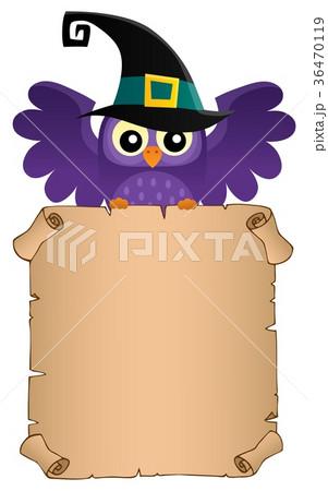 Halloween owl holding parchment theme 2 36470119
