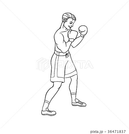 vector flat muscular handsome boxer man 36471837