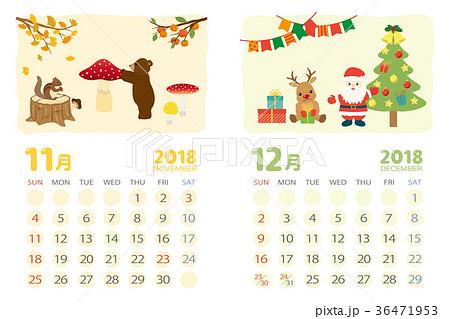 2018年11月12月 イベントのカレンダーのイラスト素材 36471953 Pixta